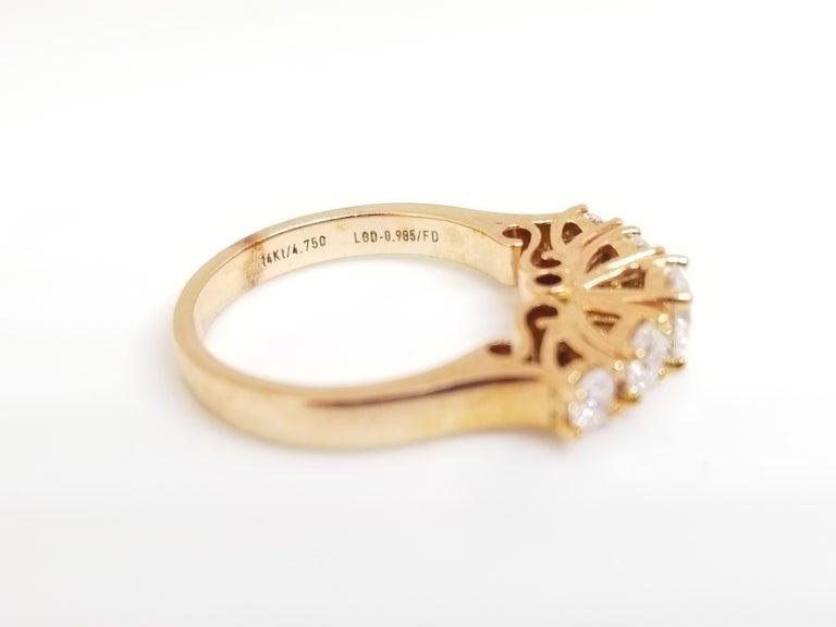 Women's 1.66 Carat Diamond Half Band 14 Karat Rose Gold Ring For Sale