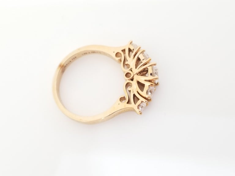 1.66 Carat Diamond Half Band 14 Karat Rose Gold Ring For Sale 1