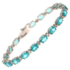 16.60 Carat Apatite Diamond 14 Karat White Gold Tennis Bracelet