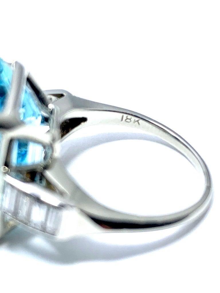 16.60 Carat Aquamarine and Emerald Cut Diamond White Gold Cocktail Ring In Excellent Condition For Sale In Washington, DC