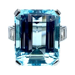 16.60 Carat Aquamarine and Emerald Cut Diamond White Gold Cocktail Ring