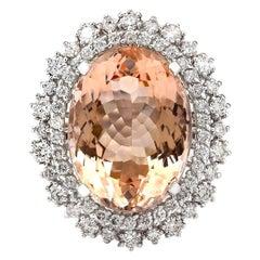 16.60 Carat Morganite 18 Karat White Gold Diamond Ring