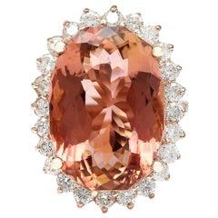 16.60 Carat Natural Morganite 18 Karat Solid Rose Gold Diamond Ring