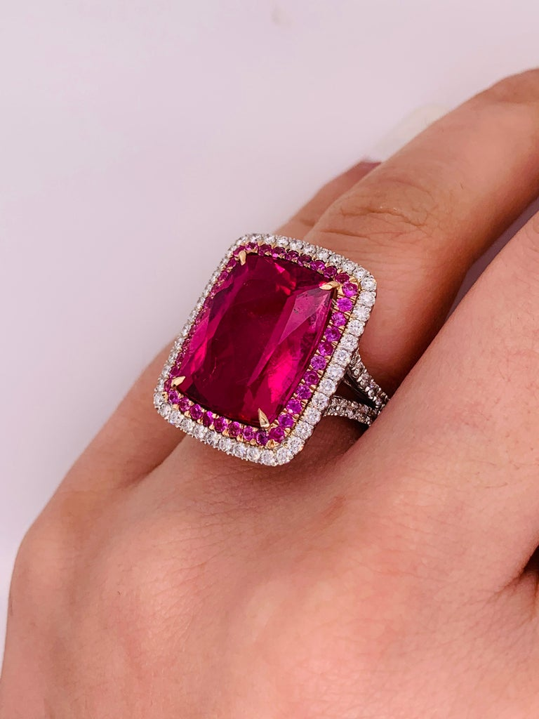 Radiant Cut 16.60 Carat Pink Tourmaline and Diamond Ring For Sale