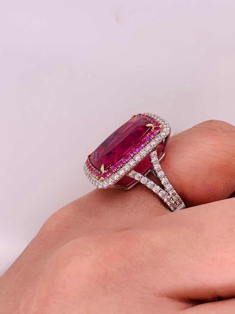 Women's or Men's 16.60 Carat Pink Tourmaline and Diamond Ring For Sale