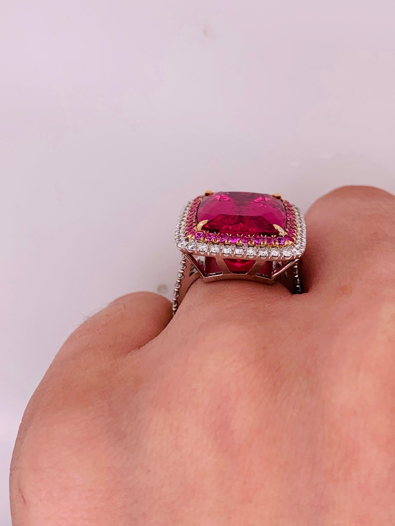 16.60 Carat Pink Tourmaline and Diamond Ring For Sale 1