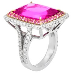 16.60 Carat Pink Tourmaline and Diamond Ring