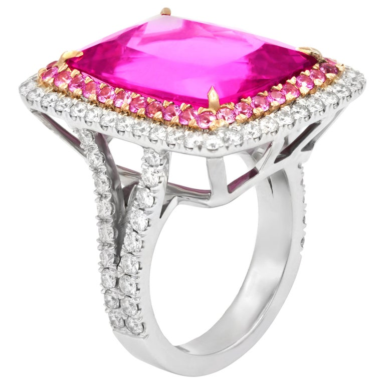 16.60 Carat Pink Tourmaline and Diamond Ring For Sale