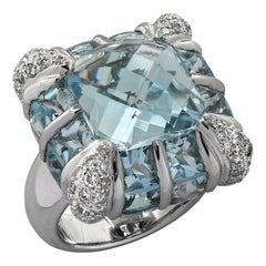 16.63 Carat Blue Topaz and Diamond Cocktail Ring