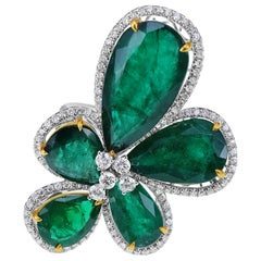 16.64 Carat Emerald Flower Cluster Ring