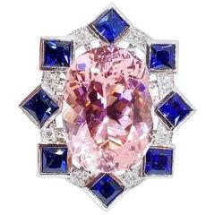 16.65 Carat Pink Tourmaline 3.60 Carat Sapphire .52 Carat Diamond Cocktail Ring