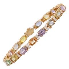 16.65 Multi Sapphire Diamond 14 Karat Gold Eternity Bangle Bracelet