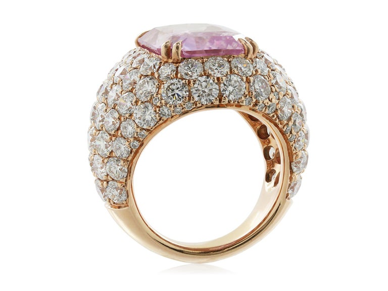 Contemporary 16.67 Carat Burma Unheated Padparadscha Sapphire and Diamond Ring For Sale