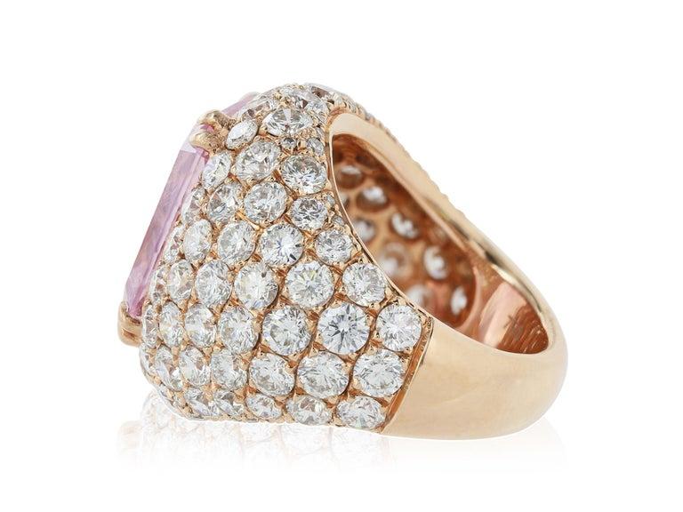 Cushion Cut 16.67 Carat Burma Unheated Padparadscha Sapphire and Diamond Ring For Sale