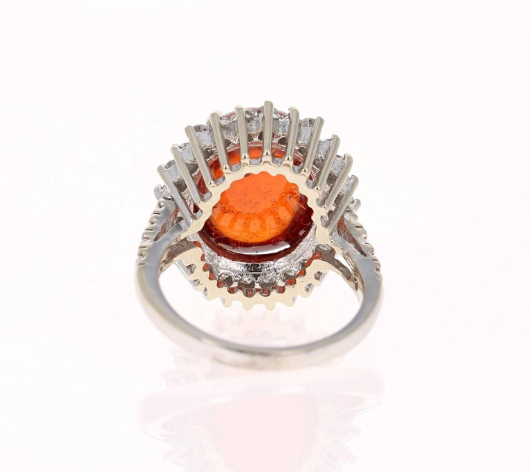 Oval Cut 16.69 Carat Cabochon Spessartine Diamond White Gold Cocktail Ring For Sale