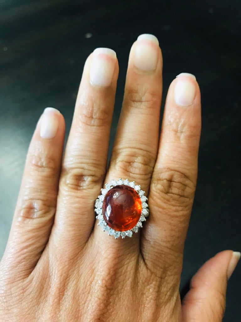 16.69 Carat Cabochon Spessartine Diamond White Gold Cocktail Ring In New Condition For Sale In San Dimas, CA