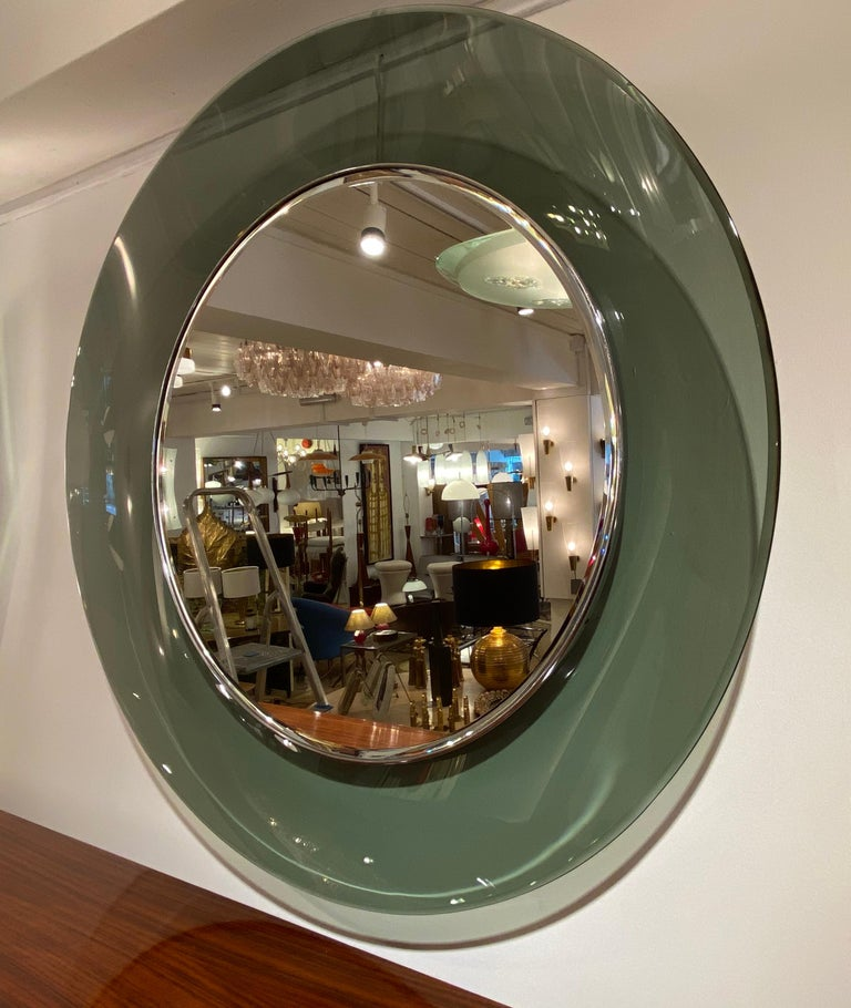Mid-Century Modern '1669' Model Circular Glass Mirror by Max Ingrand for Fontana Arte, Italy, 1960 For Sale