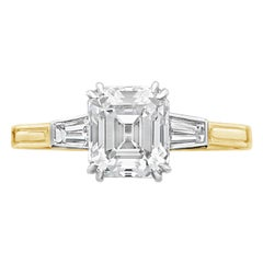 1.66 Carat D IF Emerald-Cut Diamond Set in Diamond Shoulder Ring by Hancocks