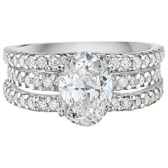 1.67 Carat Diamond 3-Row Cathedral Setting Oval Engagement Ring