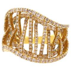 1.67 Carat Round White Diamond Ring Fashion Cocktail Band 18K Yellow Gold