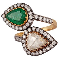 1.67 Carat Emerald and Rose Cut Diamond Ring in Victorian Style