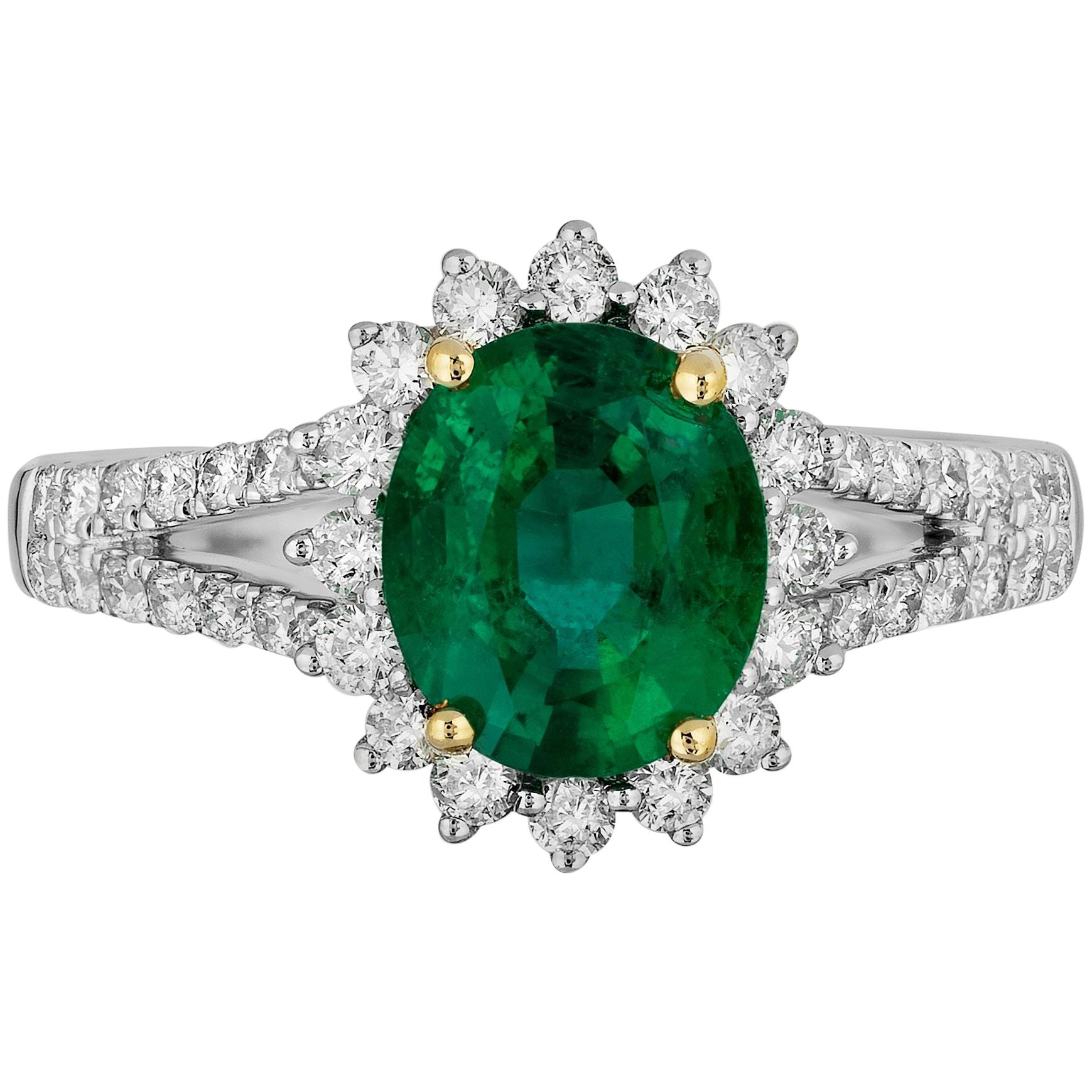1.67 Carat Emerald Diamond Cocktail Ring