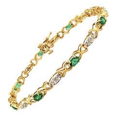 1.67 Carat Natural Diamond and Emerald Bracelet G-H SI 14 Karat Yellow Gold
