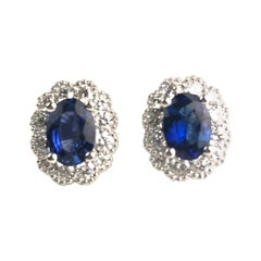 DiamondTown 1.67 Carat Oval Cut Blue Sapphire Earrings in Diamond Halo 18K Gold