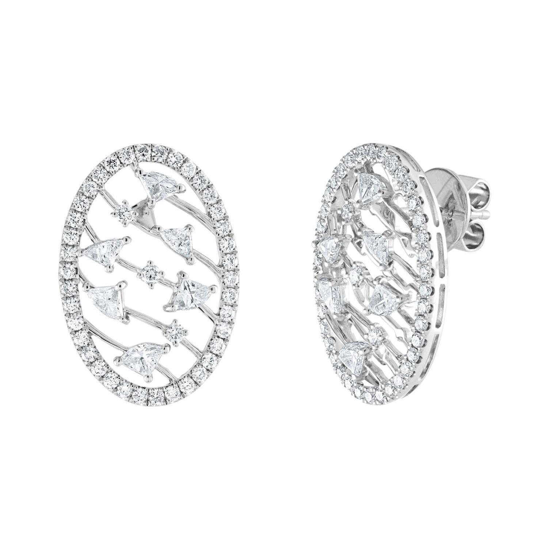 1.67 Carat Oval Diamond Gold Earrings