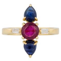 1.67 Carat Ruby Multi-Stone Ladies Ring 18 Karat in Stock