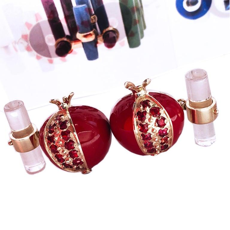 1.67 Carat Ruby Red Enamel Pomegranate Shaped Rock Crystal Back Gold Cufflinks For Sale 10