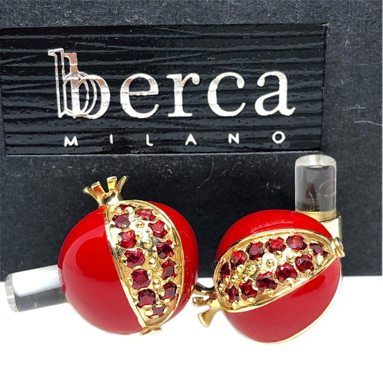 Unique, absolutely chic Red Hand Enamelled Pomegranate Shaped Cufflinks featuring 1.67 Carat Natural Ruby  in a yellow gold setting, rock crystal Hand Inlaid Stick back