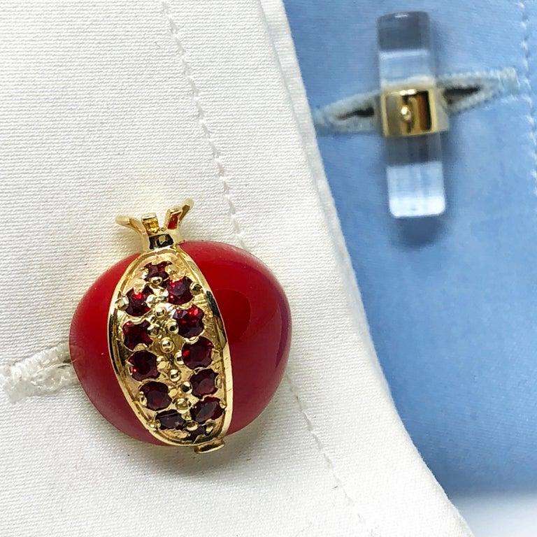 Men's 1.67 Carat Ruby Red Enamel Pomegranate Shaped Rock Crystal Back Gold Cufflinks For Sale