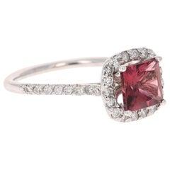 1.67 Carat Tourmaline Diamond 14 Karat White Gold Ring