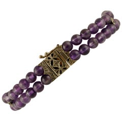 16.7 G Amethysts, Diamonds 9 Karat Rose Gold and Silver Retro Beaded Bracelet
