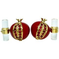 1.67 Karat Ruby Red Enamel Pomegranate Shaped Rock Crystal Back Gold Cufflinks