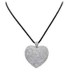 16.70 Carat Micro-Pave Diamond Heart Pendant Necklace