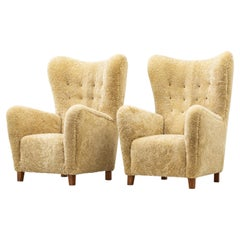 """""""1672"""" Wingback Chairs by Fritz Hansen, with Sheep Skin, Denmark, 1940s"""
