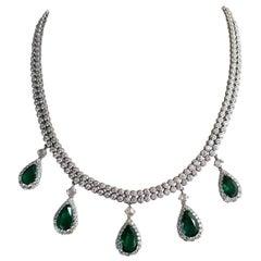 16.74 Carat Pear Shape Emerald and Diamond Necklace