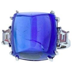 16.75 Carat Sugarloaf Tanzanite Diamond Ring in 18 Karat White Gold