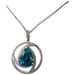 16.76 Carat Blue Zircon and Diamond Gold Pendant