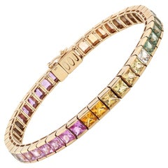 16.77 Carat Multicolored Sapphire 18 Karat White Gold Tennis Bracelet