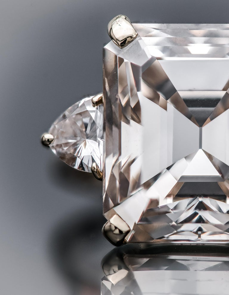 An emerald cut diamond makes a singular statement. Due to the extremely high quality of stone required to cut it, it is the rarest of all forms, making up only 3% of all faceted diamonds. While the concentric alignment of its facets creates a