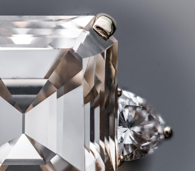 Emerald Cut 16.77 Fancy Light Brown Diamond Ring For Sale
