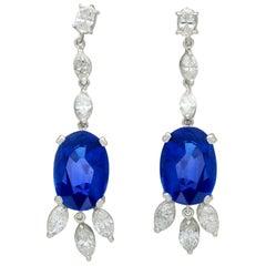 16.78 Carat Ceylon Sapphire and 4.26 Carat Diamond White Gold Drop Earrings