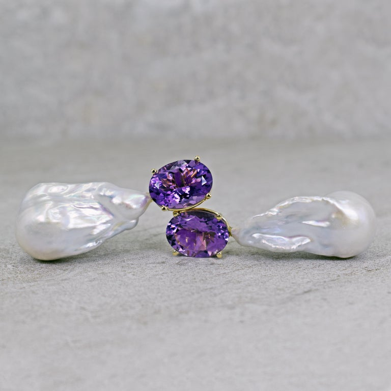 16.79 Carat Amethyst and Baroque Pearl 14 Karat Gold Drop Stud Earrings In New Condition For Sale In Naples, FL
