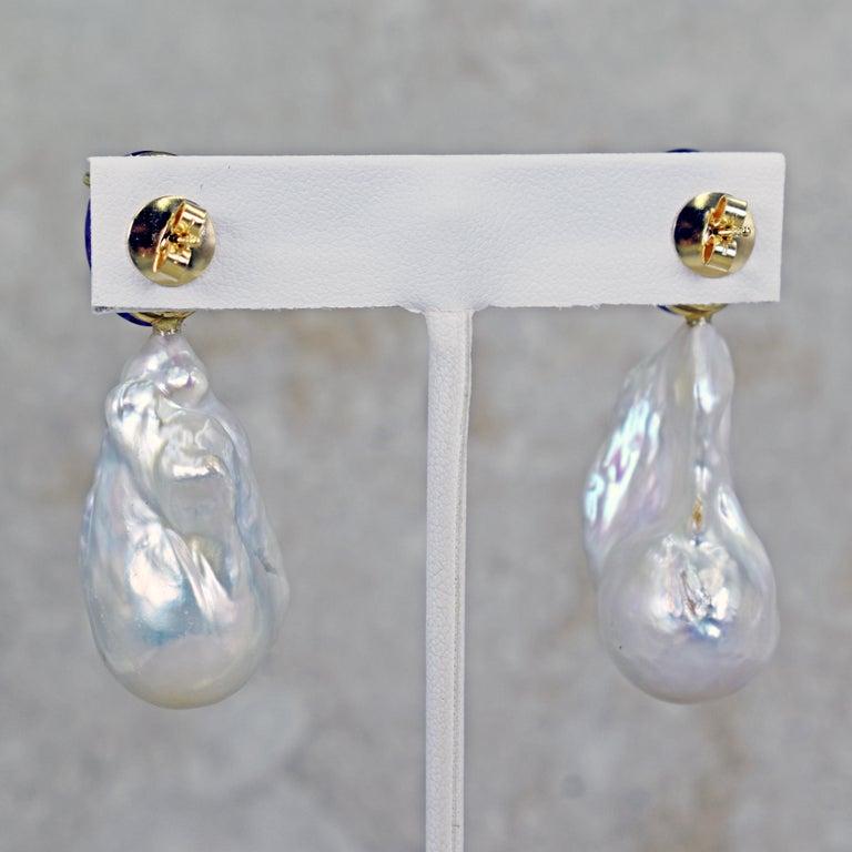 16.79 Carat Amethyst and Baroque Pearl 14 Karat Gold Drop Stud Earrings For Sale 2
