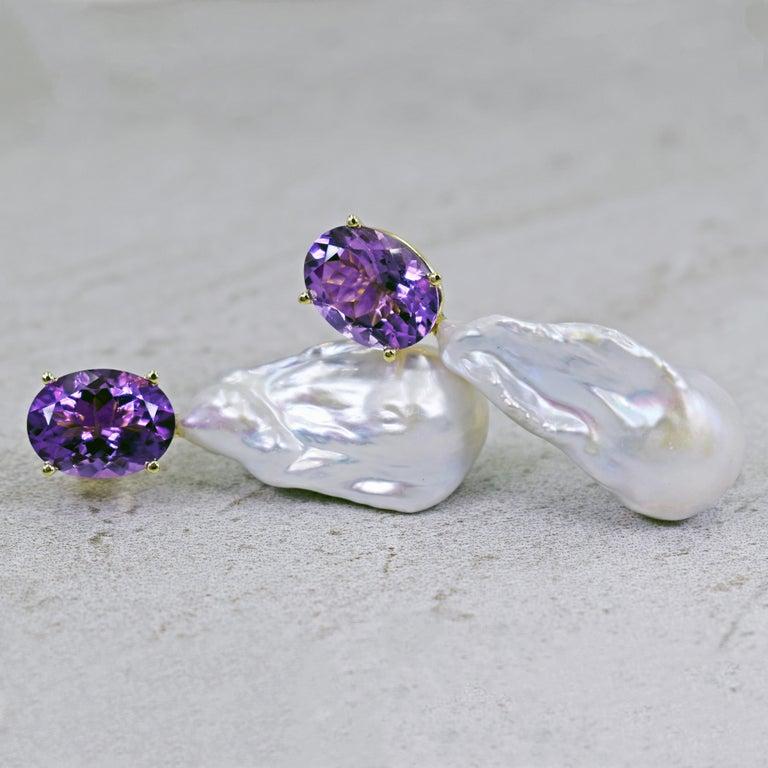 16.79 Carat Amethyst and Baroque Pearl 14 Karat Gold Drop Stud Earrings For Sale 3