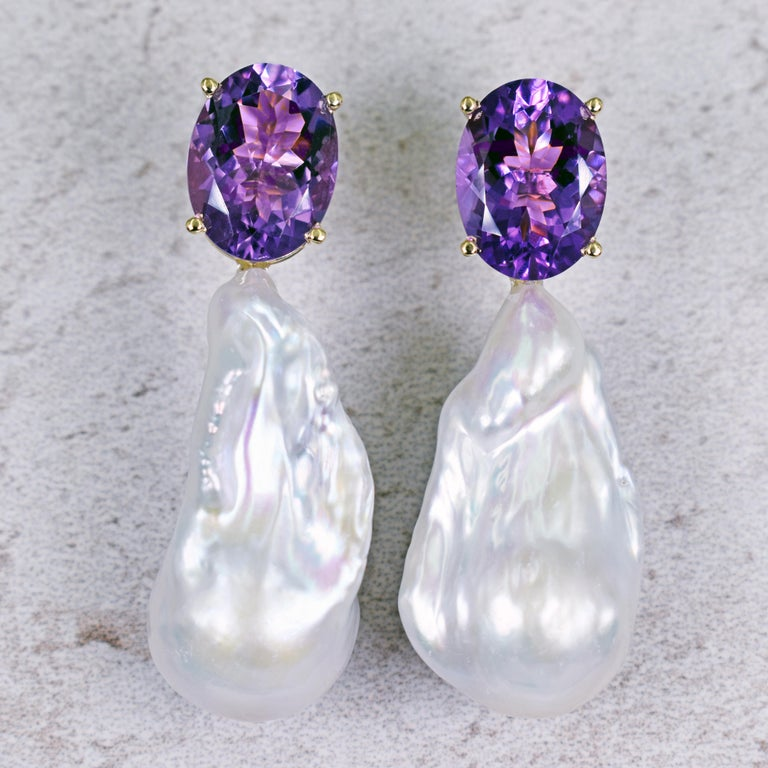 16.79 Carat Amethyst and Baroque Pearl 14 Karat Gold Drop Stud Earrings For Sale 4