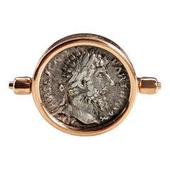 168 A.D. Lucio Vero/Aequitas Silver Roman Coin 18K Gold Rotating Signet Ring